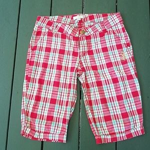 Southpole Red Plaid Bermuda shorts,Juniors 7